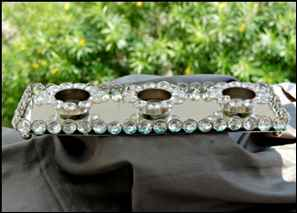 Glass Crystal, Metal Tray with 3 Diya