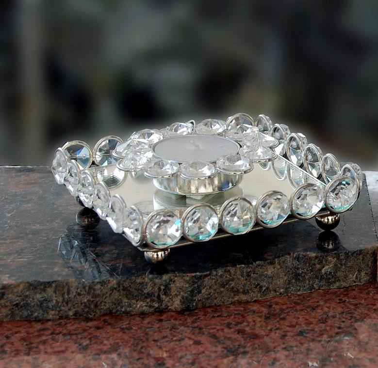 Crystal Tray with 1 Diya