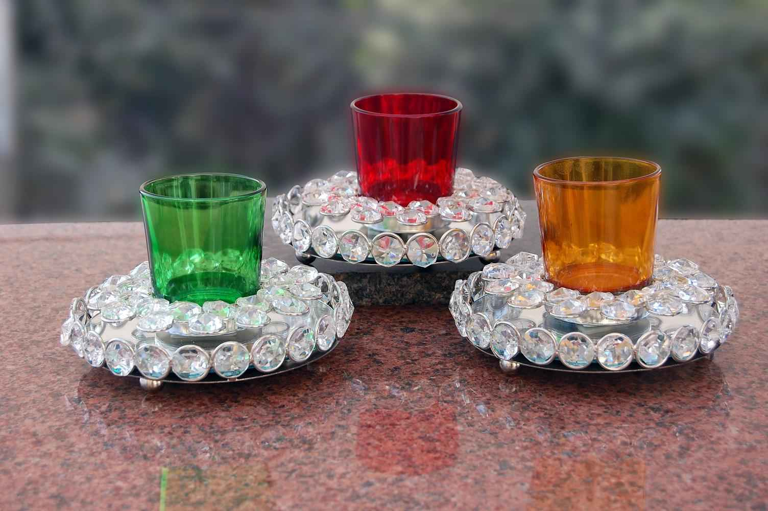 Candle Holder With Crstal Round Base